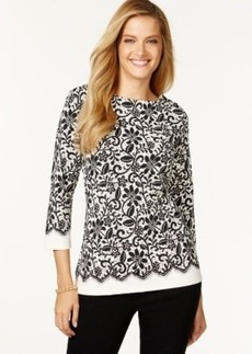 Charter Club Lace-Printed Top, Only at Macy's