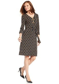 Charter Club Petite Lace-Up Status-Print Dress