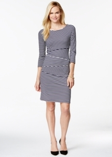 Charter Club Petite Three-Quarter-Sleeve Striped Sheath Dress, Only at Macy's