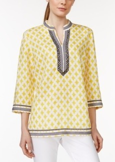 Charter Club Linen Printed Embroidered Tunic, Only at Macy's