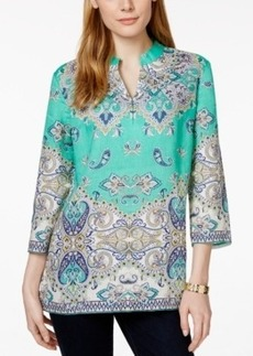 Charter Club Linen Printed Split-Neck Tunic, Only at Macy's