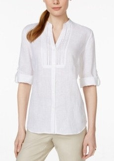 Charter Club Linen Roll-Tab-Sleeve Shirt, Only at Macy's