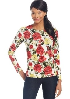 Charter Club Petite Long-Sleeve Blossom-Print Top, Only at Macy's