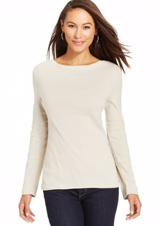 Charter Club Long-Sleeve Boat-Neck Pima Cotton Tee