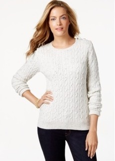 Charter Club Petite Long-Sleeve Cable-Knit Sweater, Only at Macy's