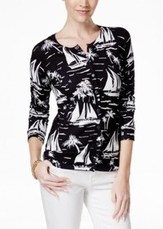 Charter Club Petite Sailboat-Print Cardigan