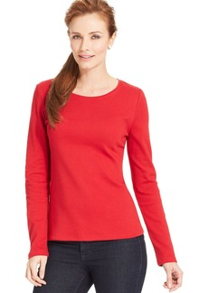 Charter Club Long-Sleeve Crew Neck Pima Cotton Tee