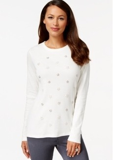 Charter Club Long-Sleeve Embellished Top, Only at Macy's