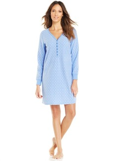 Charter Club Long Sleeve Henley Sleepshirt