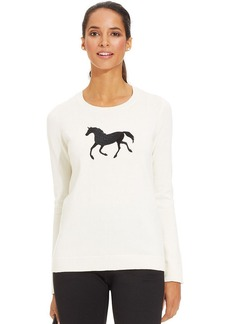 Charter Club Long-Sleeve Horse-Print Sweater