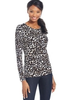 Charter Club Long-Sleeve Leopard-Print Top