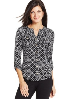 Charter Club Long-Sleeve Printed Blouse