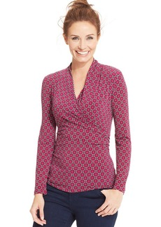 Charter Club Long-Sleeve Printed Faux-Wrap Top