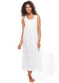 Charter Club Long Sleeveless Embroidered Gown