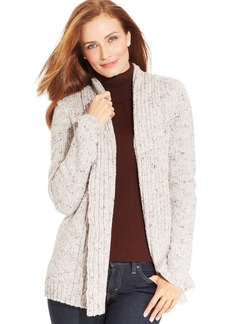 Charter Club Marled-Knit Ribbed Open-Front Cardigan