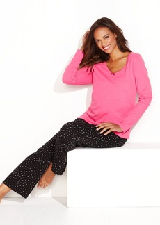 Charter Club Mix It Up Knit Top and Pajama Pants Set