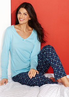 Charter Club Mix It Up Long Sleeve Top and Pajama Pants Set