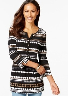 Charter Club Petite Multi-Dot Henley Tunic, Only at Macy's