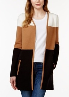 Charter Club Open-Front Colorblocked Cardigan, Only at Macy's