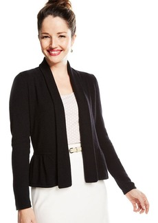 Charter Club Open-Front Peplum Cashmere Cardigan