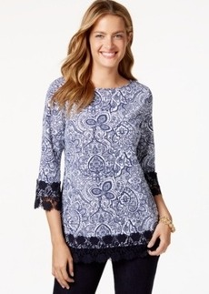 Charter Club Paisley-Print Crochet-Trim Top, Only at Macy's