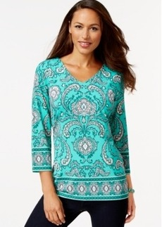 Charter Club Paisley-Print V-Neck Top, Only at Macy's