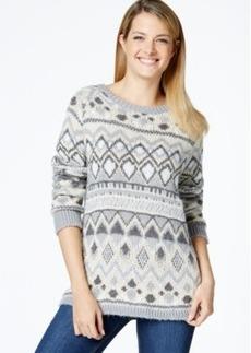 Charter Club Petite Printed Metallic Sweater