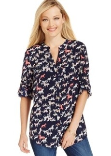 Charter Club Petite 2-Pocket Horse-Print Blouse, Only at Macy's
