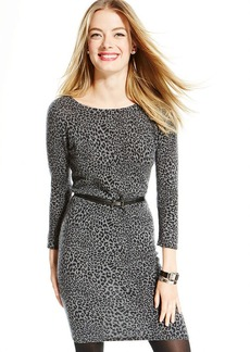 Charter Club Petite Animal-Print Cashmere Sweater Dress
