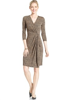 Charter Club Petite Animal-Print Faux-Wrap Dress