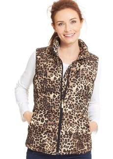 Charter Club Petite Animal-Print Quilted Vest