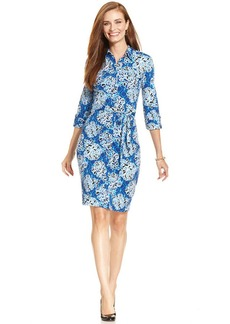 Charter Club Petite Belted Floral-Print Shirtdress