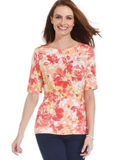Charter Club Petite Boat-Neck Floral-Print Cotton Tee