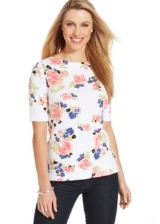Charter Club Petite Boat-Neck Floral-Print Tee