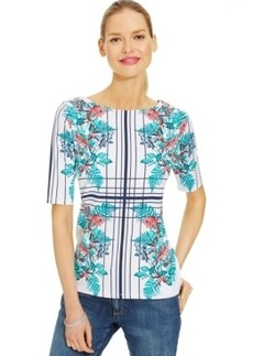 Charter Club Boat-Neck Floral Print Top