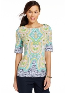 Charter Club Boat-Neck Paisley-Print Top