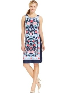 Charter Club Border Trim Floral-Print Sheath Dress