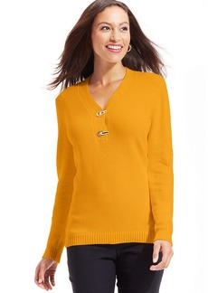 Charter Club Petite Buckled Henley Sweater