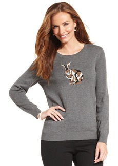 Charter Club Petite Bunny-Print Pullover Sweater