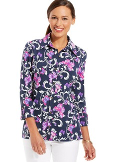 Charter Club Petite Butterfly Bouquet Button-Down Top