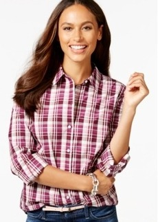 Charter Club Petite Button-Down Plaid Shirt, Only at Macy's