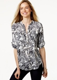 Charter Club Petite Button-Front Paisley Shirt, Only at Macy's