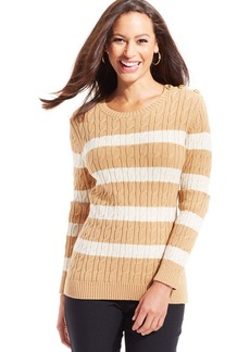 Charter Club Petite Button-Shoulder Cable-Knit Striped Sweater