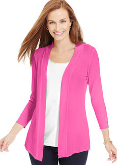 Charter Club Petite Button-Sleeve Open-Front Cardigan