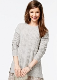 Charter Club Petite Cable-Knit Cashmere Crew-Neck Sweater, Only at Macy's