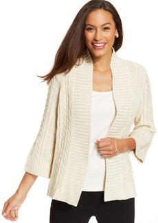 Charter Club Petite Cable-Knit Metallic Open-Front Cardigan