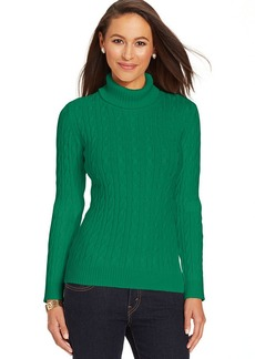 Charter Club Petite Cable-Knit Turtleneck Sweater