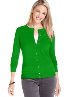 Charter Club Petite Cardigan, Long Sleeve Fine Gauge Sweater