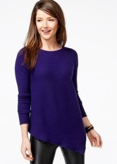 Charter Club Petite Cashmere Asymmetrical-Hem Sweater