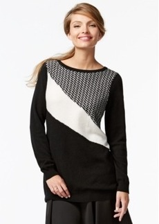 Charter Club Petite Cashmere Colorblocked Sweater